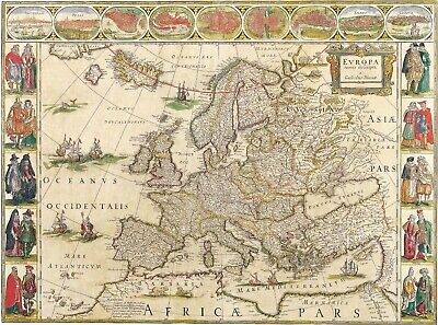 A4 Reprint of Old Map Of Europe