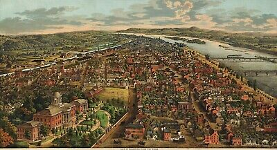 A4 Reprint of Old Maps Birds Eye View Harrisburg USA From North 1900S