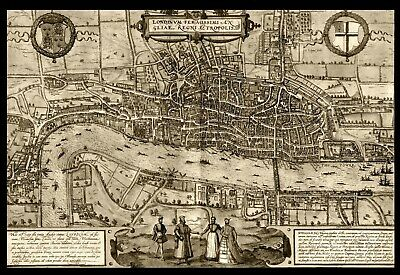 A4 Reprint of Old Maps Of London Sepia Map Of London Highly Detailed A