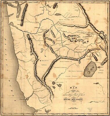 A4 Reprint of Old Maps 1837 Map Of Territory West Of The Rocky Mountains