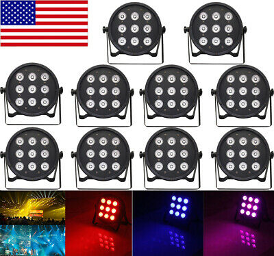 10pack 120W 9LED 8Ch RGBW 4Color in 1 Wash PAR Light Stage DMX Strobe Disco G5R0