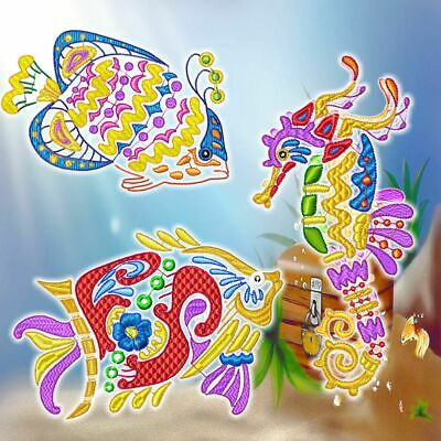 BEAUTIFUL OCEAN FISH 10  MACHINE EMBROIDERY DESIGNS CD or USB
