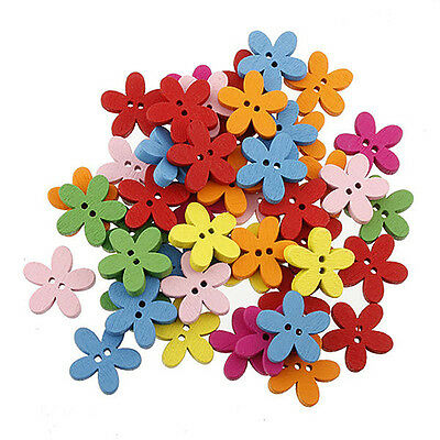 JT_ 100X Candy Colorful Flower Flatback Wooden Buttons Sewing Craft Scrapbooki