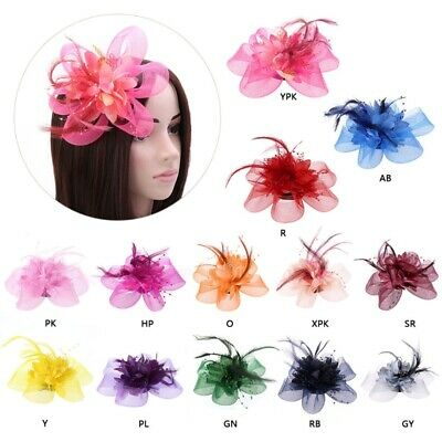 Women Flower Feather Beads Mesh Corsage Hair Clips Bridal Fascinator Hairband