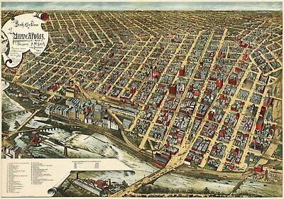 A4 Reprint of Old Maps Birds Eye View Of Late 1800S Minneapolis