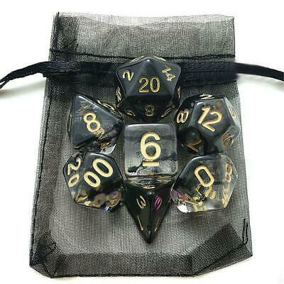 7pcs/Set Poly Nebula Black Polyhedral Dice W/Bag For Dungeons and Dragons Games