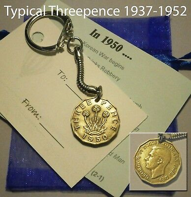 Gift Under 5 UK Coin Keyring Unusual Birthday Anniversary Fathers Day Present