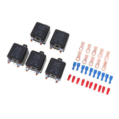 5X 200A 4-Pin Car Relay Switch Automotive Changeover Relay Socket Holder 12V