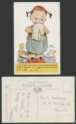 MABEL LUCIE ATTWELL Old Postcard Someone's Got To Do Blessed, ME Washing Up 2884