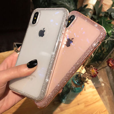 low priced fce7d 3ccfd GLOSSY BLING GLITTER Sparkle Bumper Clear Case for iPhone 7 8 Plus XS XR XS  MAX