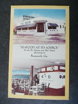 Brunswick Ga The Deck Seafood Restaurant Vtg Postcard
