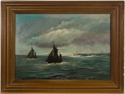 M.G. Rose - Framed Early 20th Century Oil, Two Boats and a Pier