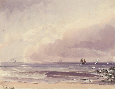 Misuouette - A Pair of Late 19th Century Watercolours, Land and Sea