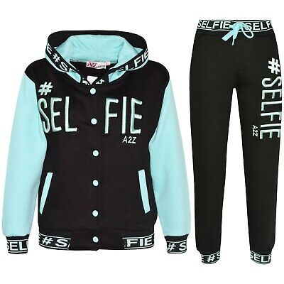 Kids Girls Tracksuit Designer #Selfie Embroidered Top Bottom Jogging Suit 5-13 Y