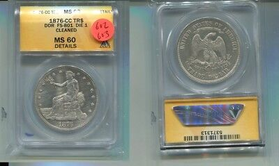 1876 Cc U.s. Trade  Silver Dollar Type Coin Anacs Ms60 Details