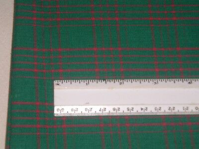 Vtg 80s Christmas Red Plaid On Green Doll Clothes Quilt Sew Fabric 30x58 me214