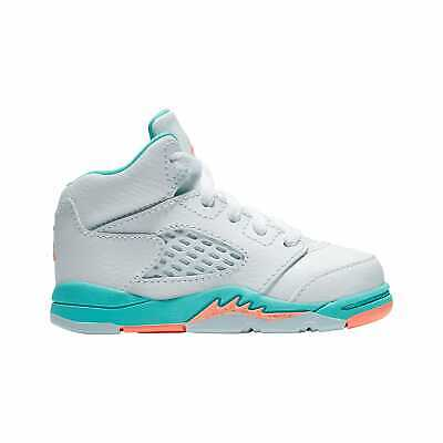 40d33071721 Jordan Retro 5 - Girls' Toddler White/Crimson Pulse/Light Aqua/Black