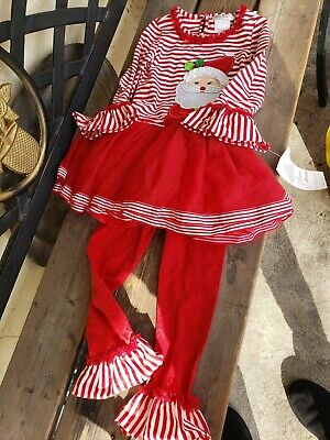 NWT Rare Editions 2PC outfit Santa/Christmas Top/Pants Girls Sz 5 Red white