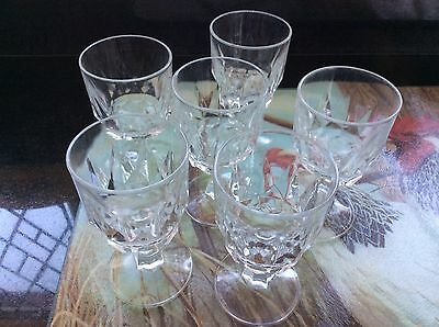 Set Of Six Vintage Footed Shot / Sherry Glasses. French Arcoroc Unmarked Conditi