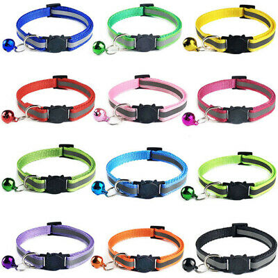 2PC Reflective Cat Collar with Bell Nylon Cute Cat Head Safety Buckle Pet Collar