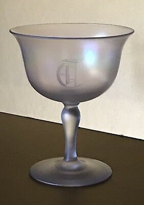 Estate Antique Steuben Verre de Soie Glass Of Silk Monogrammed Sherbet Unsigned