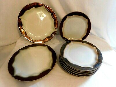 D Elite by Gibson Dinnerware Dinner Plates and Salad Plates Brown/ Bronze Earthy