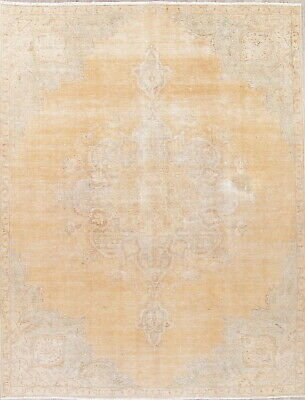 ANTIQUE 8x10 Persian Oriental Hand-Knotted MUTED PEACH Distressed WORN Area Rug