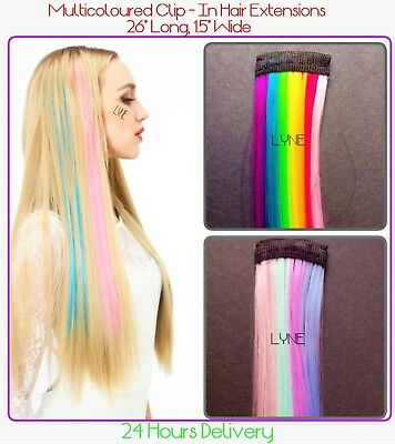 """UK  Clip-In Highlights Hair Extensions  26"""" Long   1.5"""" Wide   24 Hours Delivery"""