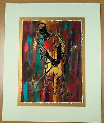 Abstract TIGER WOODS Painting ~ Artist Johnny Summers ~ Mixed Media ~ Original