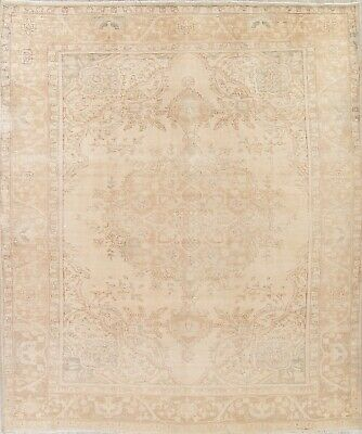 ANTIQUE Geometric MUTED Persian Oriental Hand-Knotted Beige 10x12 Distressed Rug