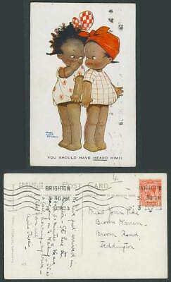 MABEL LUCIE ATTWELL 1923 Old Postcard Black Girls You Should Have Heard Him! 615
