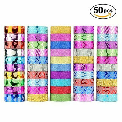 WEfun Glitter Washi Tape,50 rolls Decorative Tape for Arts and Crafts