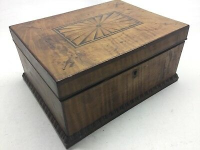 Antique Tiger Maple, Mahogany, And Satinwood Inlay Jewelry Box