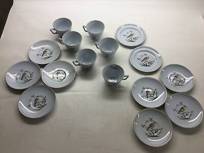Copeland Spode Queen's Bird Blue Gray 6 Cups 8 Saucers 2 Bread Plates Green Mark