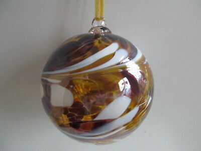 Glass Mouth Blown Spirit of Friendship Ball Golden Shimmer 8cm Boxed Gift Idea