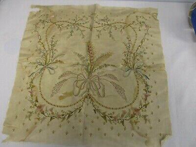 "ANTIQUE EMBROIDERED SILK FABRIC 18"" SQUARE w BOUQUET OF FERN FLOWERS"