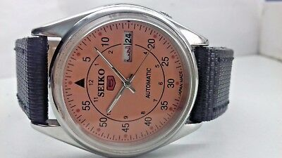6309 Seiko 5 Day&date Automatic Orange Color Dial Numeric Figure Man's Watch