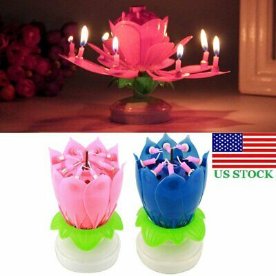 2PC Amazing Lotus Flower Musical Birthday Candle Double Deck Blossom Party Decor