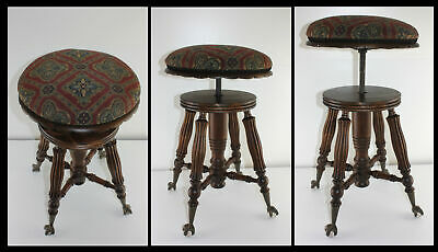 Antique Adjustable Carved Piano Organ Stool Glass Ball Beaded Claw Feet Restored
