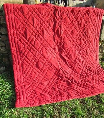 Antique French Handmade Boutis Sateen Cotton Raspberry Mustard Bed Quilt 1930s