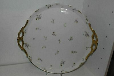 "Antique 15""cfh Gdm Limoges France Round Floral Serving Tray/platter-Gold Handles"