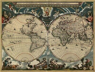 A4 Reprint of Old Map Of The World from the 1500s