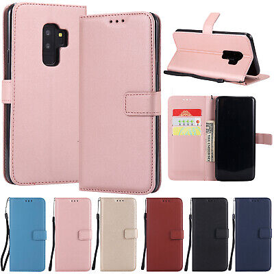 For Samsung Galaxy S9 Plus S8 Leather Magnetic Card Holder Stand Flip Case Cover