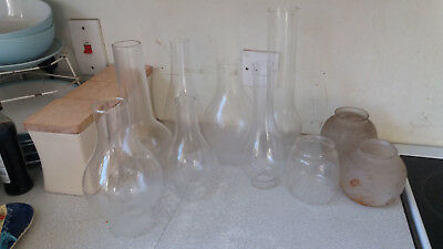 Collection Job Lot Vintage Glass Oil Lamp Chimneys And Globes / Shades