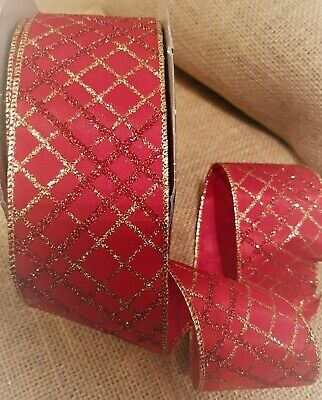 LUXURY PLAID Glittery Red & Gold Diamond Trellis - Luxury Wire Edge Ribbon