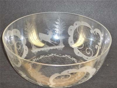 Antique Bohemian Czech Egermann Etched Figural Rare Colorless Glass Bowl 9''