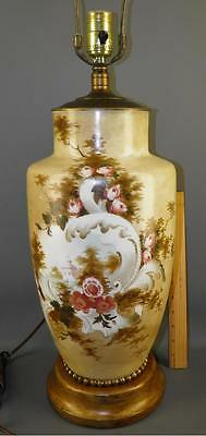 Antique Victorian Hand Painted Milk Glass Scenic Floral Vase Table Banquet Lamp