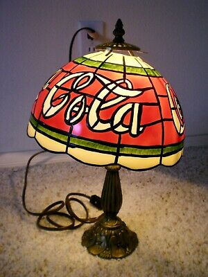 Coca Cola Stained Glass Lamp.Tiffany Style Coca Cola Stained Glass Plastic Shade Table