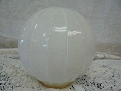 White Ribbed Glass Ceiling Light Fixture Shade Round Globe Small Flaw