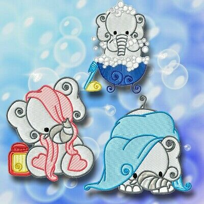BATH TIME ELEPHANTS 10 MACHINE EMBROIDERY DESIGNS CD or USB